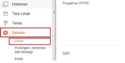 Jika sudah login, Sobat langsung klik opsi Setelan kemudian klik Dasar.