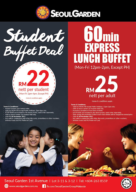 Seoul Garden Student Buffet Deal 60 min Express Lunch Buffet