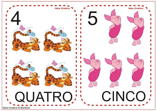 Numerais para Imprimir Turma do Pooh