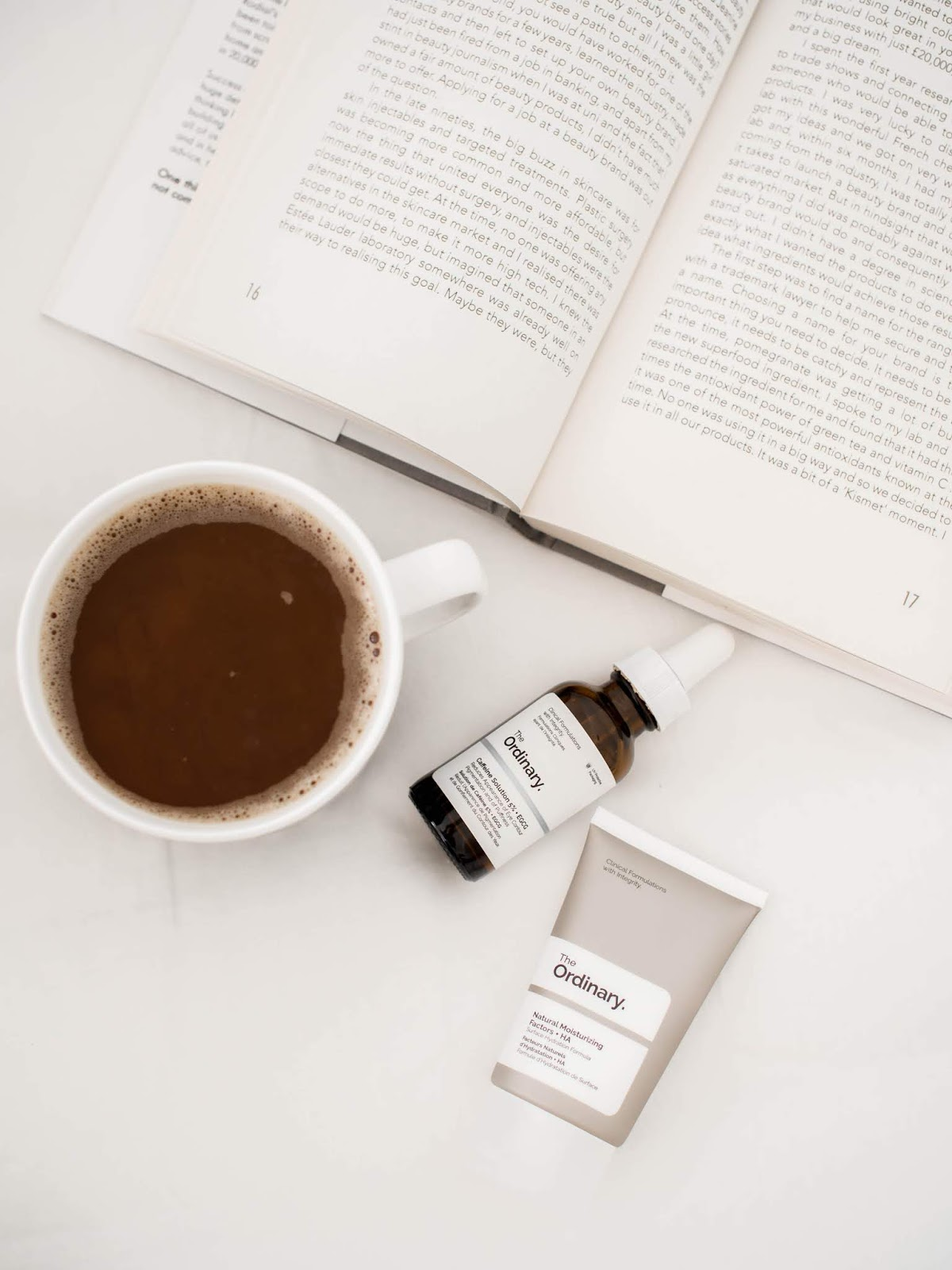The Ordinary skincare products and coffee in Marimekko mug - The Ordinary ihonhoitotuotteet ja kahvi Marimekon mukissa