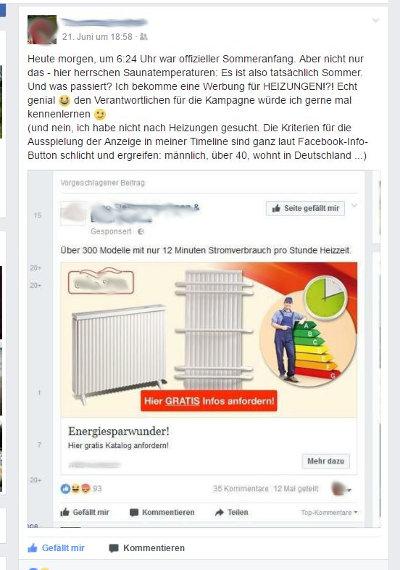 Screenshot: Facebook-Timeline mit Heizungswerbung