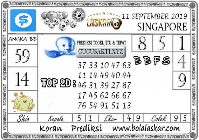 Prediksi Togel SINGAPORE LASKAR4D 11 SEPTEMBER 2019