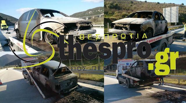 Θεσπρωτία: ΙΧ πήρε φωτιά εν κινήσει στην Εγνατία Οδό (+ΦΩΤΟ)