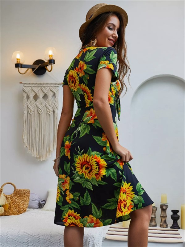 be1aa73dcd3 Navy Tropical Print Chiffon Dress - nana shopping