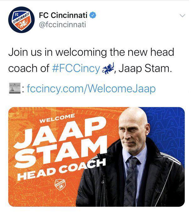 FC Cincinnati tweet Jaap Stam appointment accompanied by photo of someone who isn't Jaap Stam