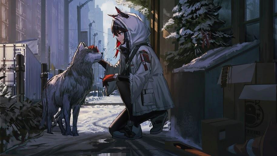 Anime, Girl, Wolf, Texas, Arknights, 4K, #6.552