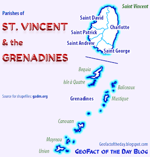 Saint Vincent and the Grenadines parishes and main islands map