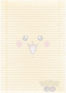 Papel Pautado do Pikachu Pokemon rabiscado PDF para imprimir na folha A4