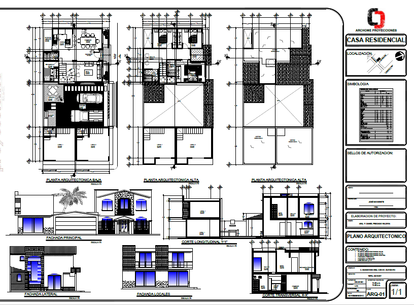 Architectural house plans with 3 Bedrooms