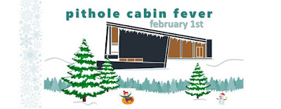 Image: drawing of midcentury modern visitor center building at Historic Pithole shown with snow-covered trees. Text says Pithole Cabin Fever, February 1st
