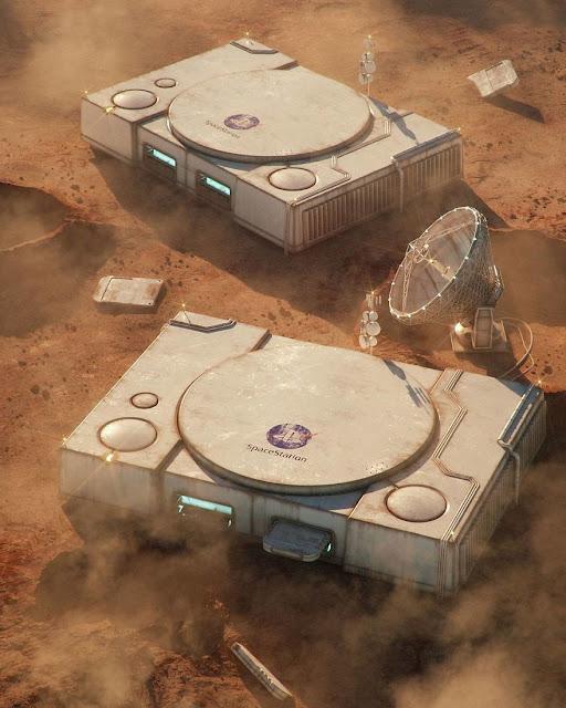 キティちゃんの廃墟?ゲームやキャラクターの廃墟のイラスト【a】 プレステの火星基地?