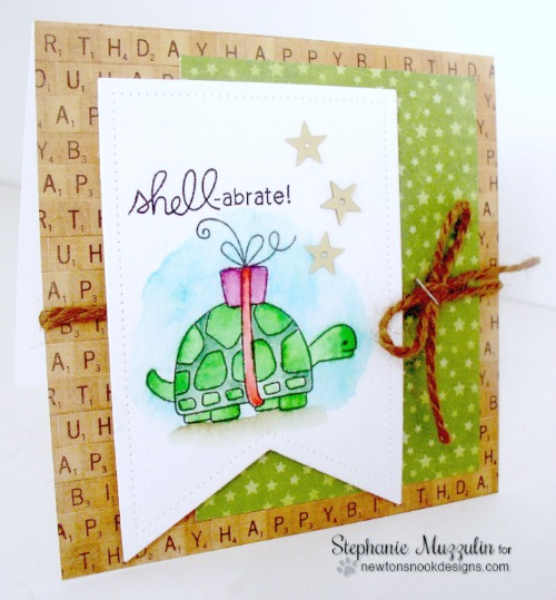 Shell-abrate Card by Stephanie Muzzulin | In Slow Motion Stamp set by Newton's Nook Designs #newtonsnook