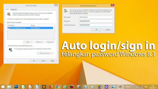 Menghilangkan / Hapus Password Login Windows 8/8.1 (auto sign in)