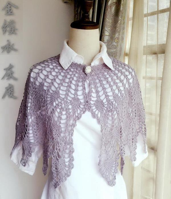 crochet lace cape, pineapple, front