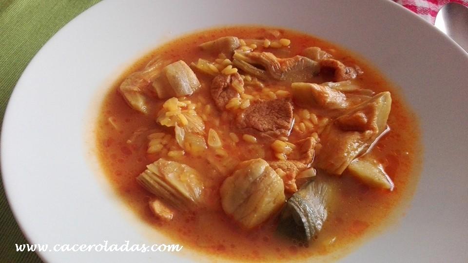 Arroz caldoso con alcachofas y carne caceroladas - Arroz caldoso con costillas y alcachofas ...