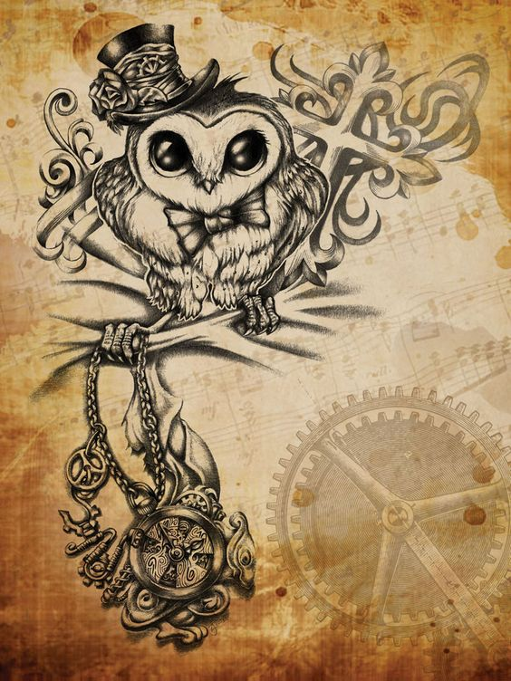 amazing steampunk owl tattoos