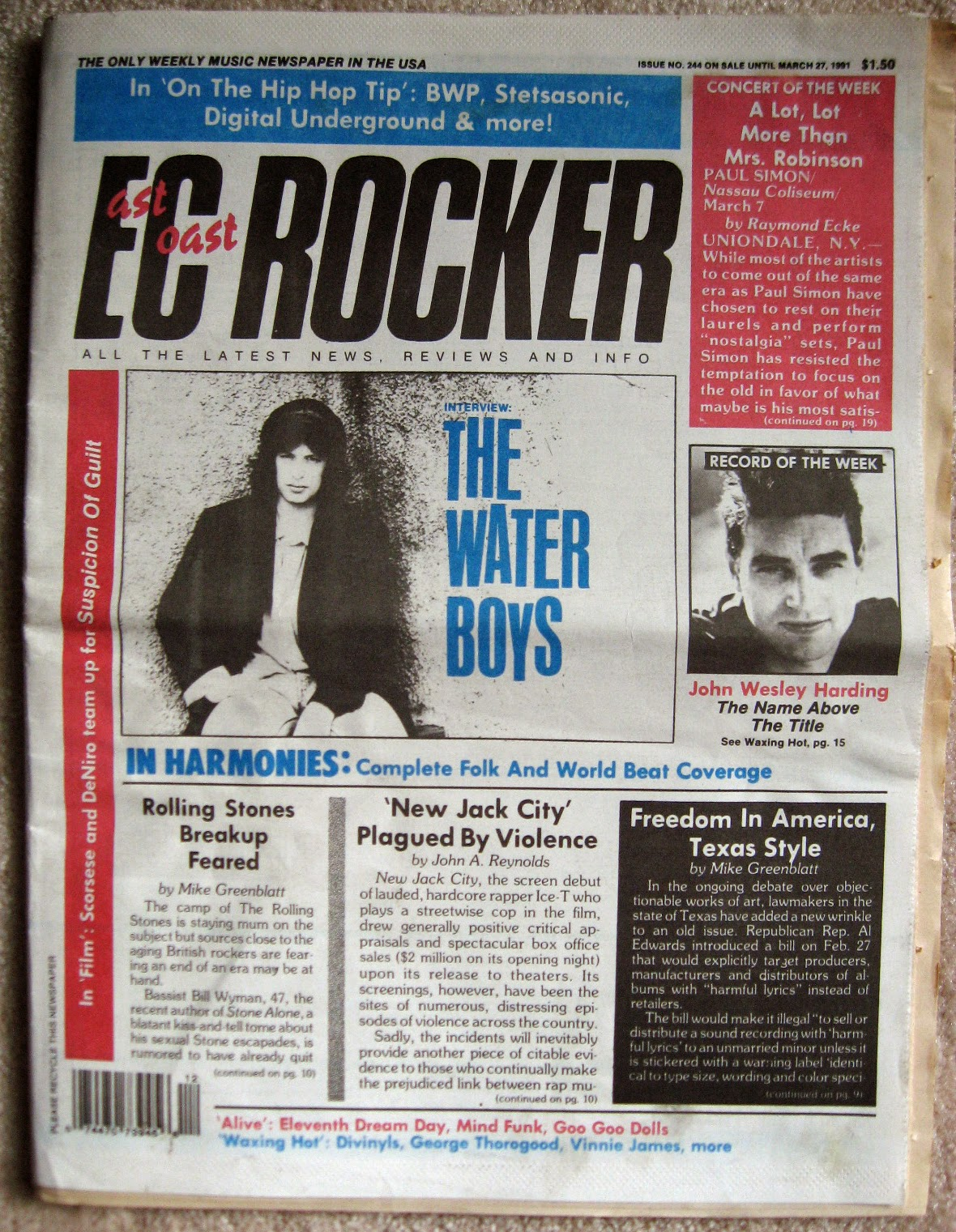 My copy of the East Coast Rocker rock mag March 1991