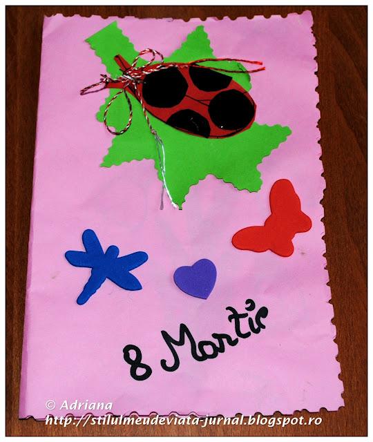 felicitare de 8 martie pregatita de copii la gradinita