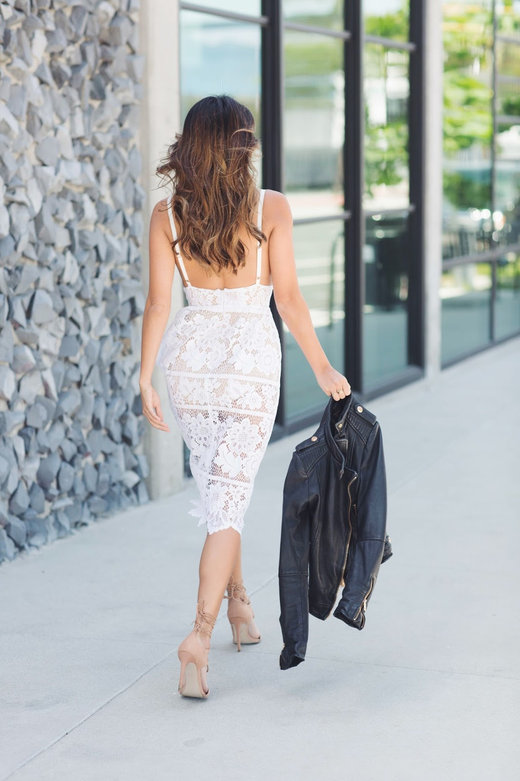how to wear white lace dress, for love and lemons, lace with leather, pursuit of shoes