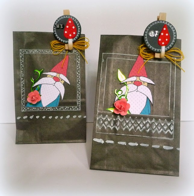 Paper Pieced Gnome Embellishments on a Chalk Stamped DIY Gift Bag
