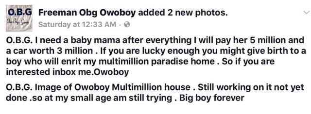 w33 - Nigerian Yahoo Boy Promises To Give Any Girl Who Can Be His Babymama N5M And N3M Car (See Photos)