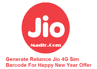 Generate Reliance Jio 4G Sim Barcode For Happy New Year Offer