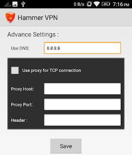 Hammer VPN Proxy settings