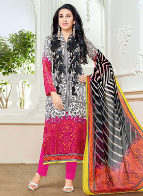Karishma Kapoor Moufizz Pakistani Style Lawn Cotton Dress Material