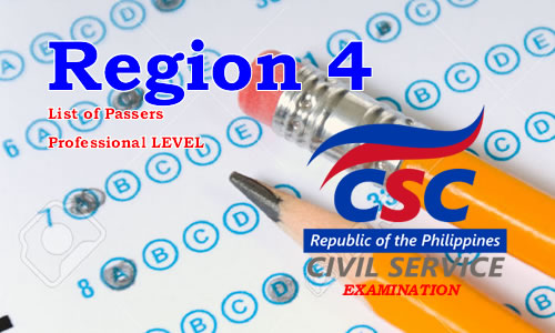 List of Passers Region 4 August 2017 CSE-PPT Professional Level