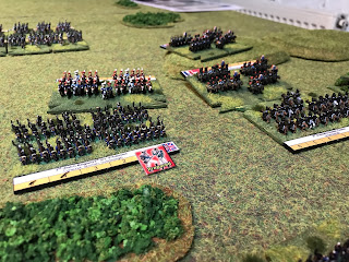 The Imperial Guard cavalry make contact with the British line