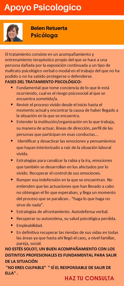 """Servicio """"Asistencia Psicológica"""" – Afectado acoso laboral PRIDICAM MobbingMadrid"""