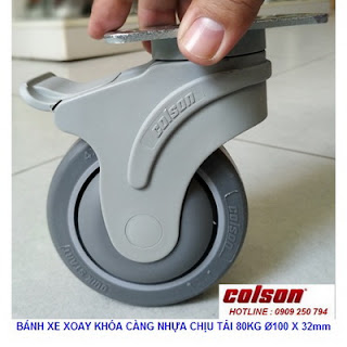 Bánh xe cao su lăn êm không ồn Colson Mỹ 4 inch | STO-4856-448BRK4 www.banhxepu.net