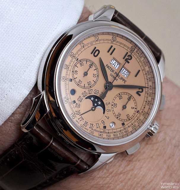 wristshot of the Patek Philippe Ref. 5270P with Salmon dial