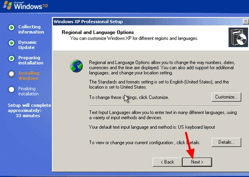 pilihan bahasa instal ulang windows xp