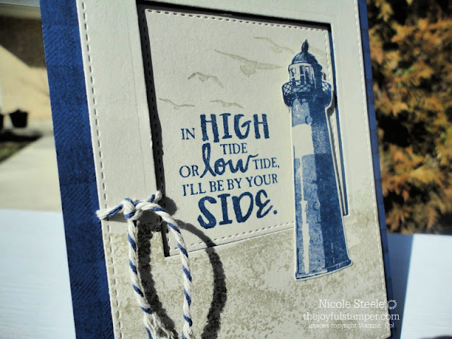 Masculine encouragement card using Stampin' Up!'s High Tide lighthouse and seashore set
