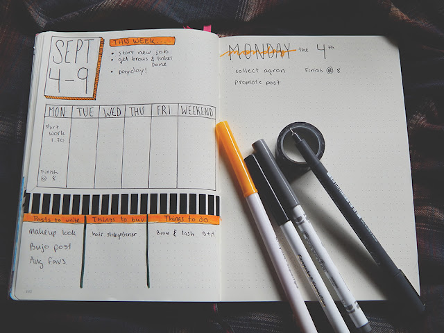 September bullet journal weekly spread