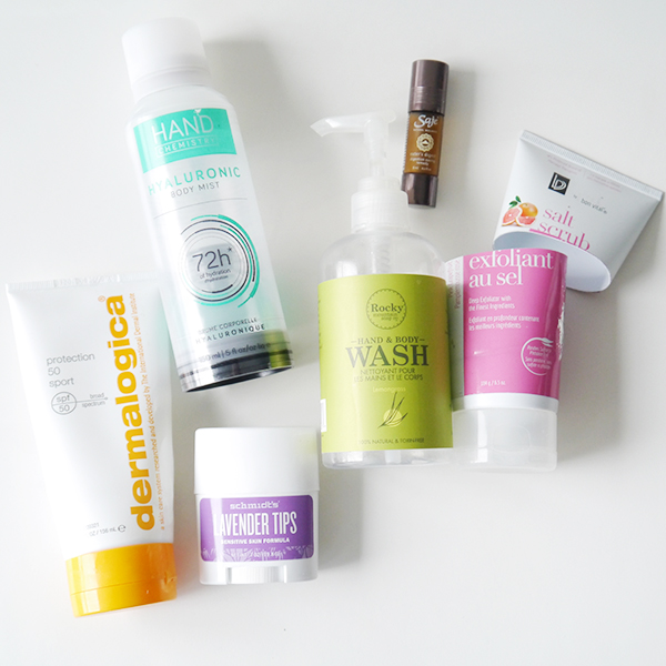 Empty body care products from the drugstore, department store, and natural beauty brands