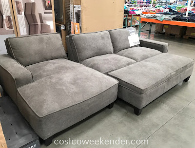 Relax and put your feet up on the Fabric Sectional with Storage Ottoman