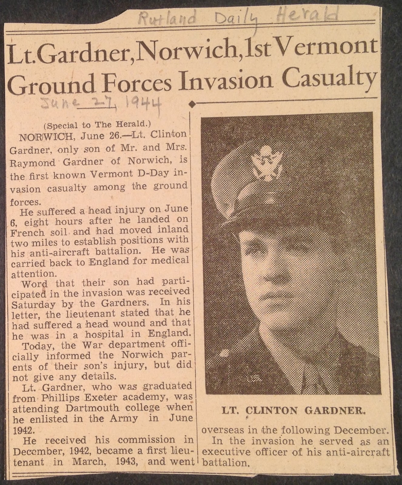"A newspaper clipping with the title ""Lt. Gardner, Norwich, 1st Vermont Ground Forces Invasion Casualty."""