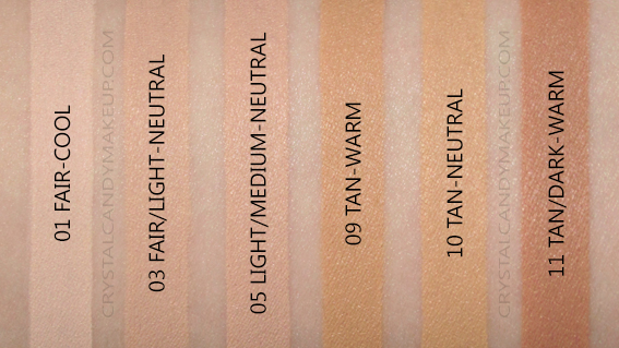 BareMinerals BarePRO 16-HR Full Coverage Concealer Swatches 01 03 05 09 10 11 MAC NW15 NW20 NC30