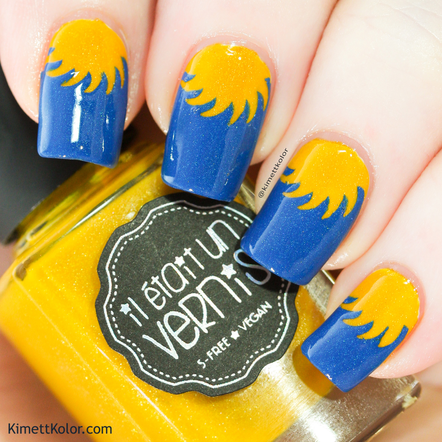 KimettKolor BlueYellow Sunshine Nail Art