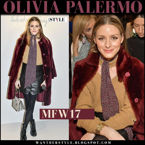 Olivia Palermo in burgundy fur coat, black leather mini skirt and black patent dior rebelle boots milan fashion week front row