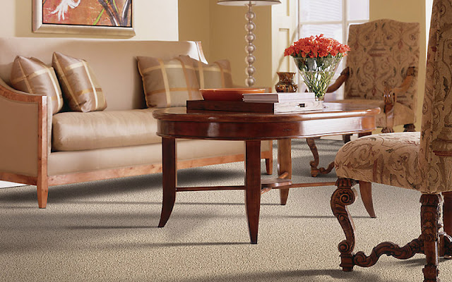 Textured carpet gives this living room a subtle, beautiful design element.