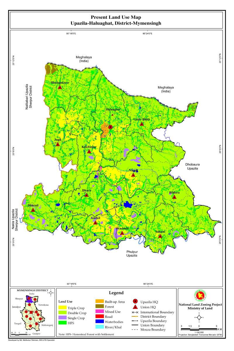 Haluaghat Upazila Mouza Map Mymensingh District Bangladesh