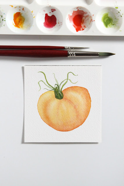 watercolor, watercolor painting, tomato painting, watercolor tomato, Anne Butera, My Giant Strawberry