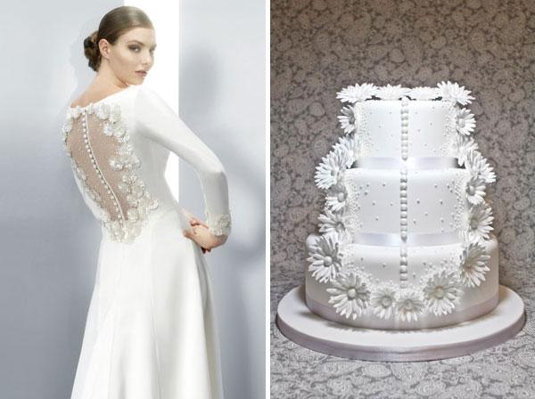 Tartas nupciales inspiradas en vestidos de novia