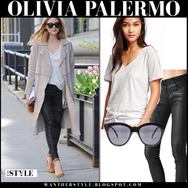 Olivia Palermo in beige trench coat, grey old navy tee, black leather paige denim edgemont pants and camel suede jimmy choo lucy pumps what she wore streetstyle