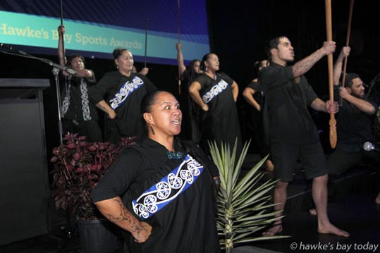 Maori welcome - The Hawke's Bay Sports Awards were held at the Pettigrew.Green Arena in Taradale, Napier. photograph