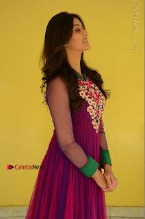 Actress Pooja Jhaveri Latest Stills in Purple Salwar Kameezt at Dwaraka Success Meet  0055.JPG