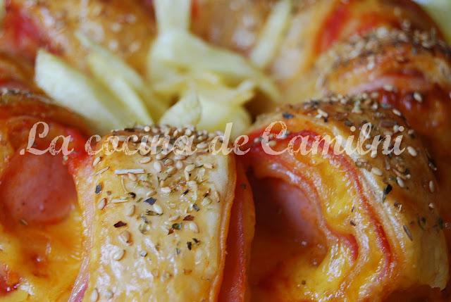 Rosca de hojaldre con salchicha bratwurst (La cocina de Camilni)